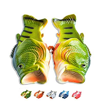 Coddies Fish Flip Flops | Unisex Sandals, Bass Slides, Slippers, Pool, Beach & Shower Shoes | Men, Women & Kids Green Size: 3-4 Women/3-4 Men