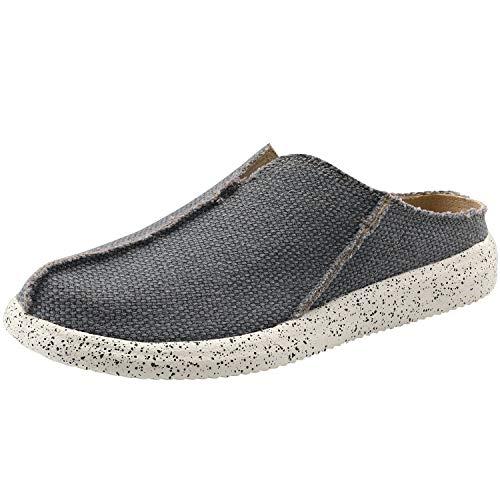 VILOCY Men's Linen Slip-On Loafers Canvas Slide Sandal Walking Slipper Backless Driving Shoes Blue V US12 EU46