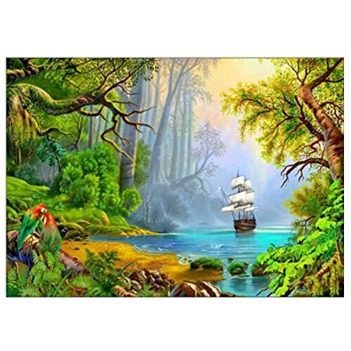 5D Diamond Painting YuBoBo 5D Full Embroidery DIY Round Drill Cross Stitch Sailboat Embroidery Arts Craft Handmade Wall Painting Wall Art for Home Decoration 16X12inch (Sailboat Colorful Paintings)