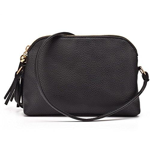 Jiaruo Women's Soft Leather Fashion Cross Body Shoulder Bag Mini Shell Bag (black)