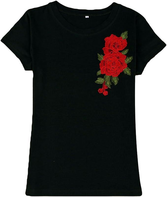 WanYang Verano Camiseta Moda Mujer Flores Bordados Impresos Suelto ...