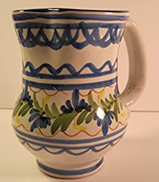 Hand-Thrown & Painted Water Pitcher from Spain by Artist: Inocencio Lario, 7 Inches