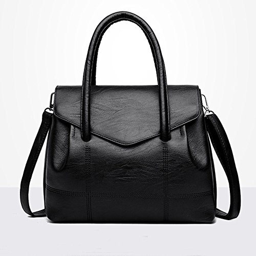 Vintage Leather Work Womens Shoulder Black Tote Handbag Bags Bag Purse ZFxvdwOqn