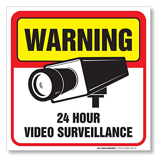 "(4 Pack) Warning 24 Hour Video Surveillance Sign - Made in USA - 5 ½"" X 5 ½"" - Self Adhesive 4 Mil Vinyl Decal - Indoor and Outdoor Use - A85-04"