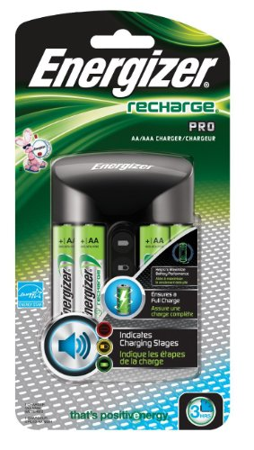 EnergizerRechargeable AA Batteries, NiMH Double A Battery (4 Count) and Pro Charger for AA and AAA Batteries