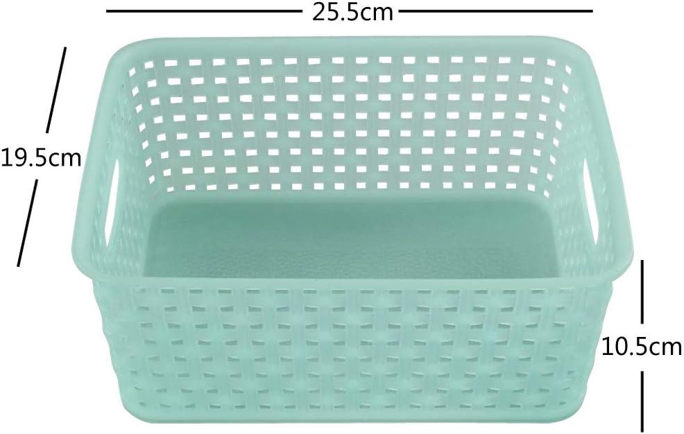 Cesto Rettangolare Fosly Confezione Da 6 Cestini Portaoggetti Cestini In Plastica Intrecciati