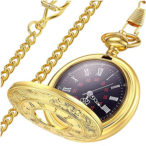 LYMFHCH Vintage Roman Numerals Quartz Pocket Watch, Men Womens Watch with Chain As Xmas Fathers Day Gift -