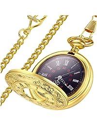 0869e5d2c83 Vintage Roman Numerals Quartz Pocket Watch, Men Womens Watch with Chain As  Xmas Fathers Day
