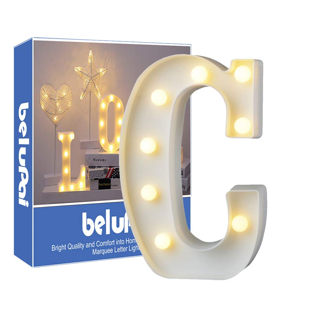 Up in hooglicht decoratie LED alfabet witte Letters lichten feesttent licht tekens batterij-aangedreven voor Party bruiloft empf/änge Holiday Home /& bath Bridal Bar d/écor