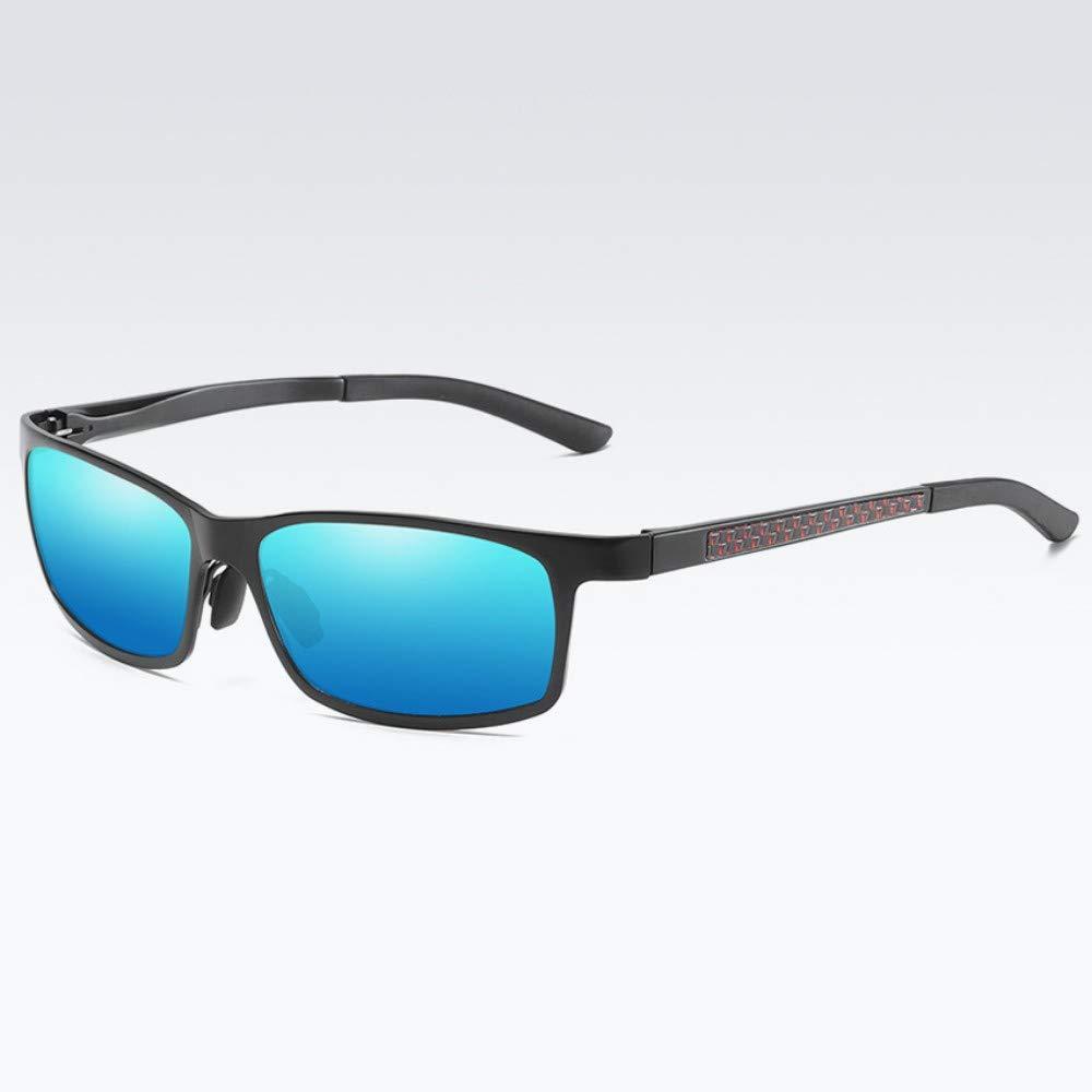 サングラス偏光サングラスメンズスクエアスポーツサングラスメンズファッションドライビングアイウェアブラックブルー   B07R4NFQK7