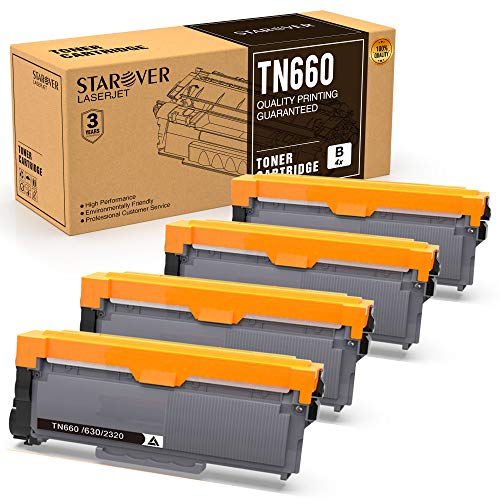 STAROVER Compatible Toner Cartridges Replacement for Brother TN660 TN-660 TN630 for Brother DCP-L2520DW DCP-L2540DW HL-L2300D HL-L2320D HL-L2340DW HL-L2360DW HL-L2380DW MFC-L2700DW Printer - 4 Pack