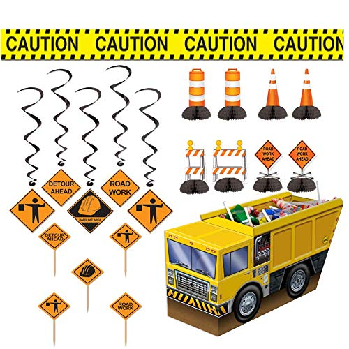 (Beistle Mighty Construction Party Decorations Kit with Whirls, Food/Cupcake Picks, Centerpieces, and Caution Tape)