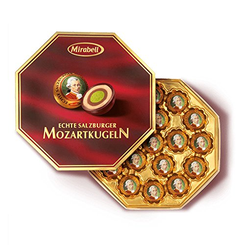 Chocolate Covered Nougat Marzipan - Mirabell Mozart Kugeln Echte Salzburger 300g Classic Octagon Gift Package/18 Pieces