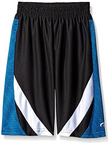 CB Sports Boys' Mesh Athletic Short, TL97-Zig Zag Print Neon Turquoise, 8