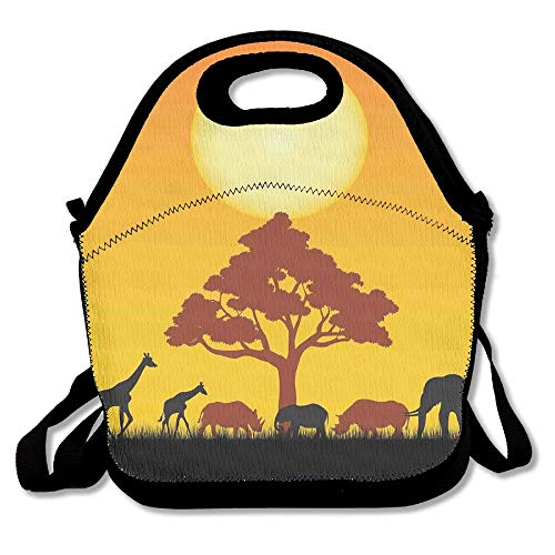 (Moyhza Silhouette Rhinos Elephants Zebras Grassland A Tree Sun The Back Insulated Lunch Bag Zipper,Carry Handle Shoulder Strap Adults Kids Black One Size)