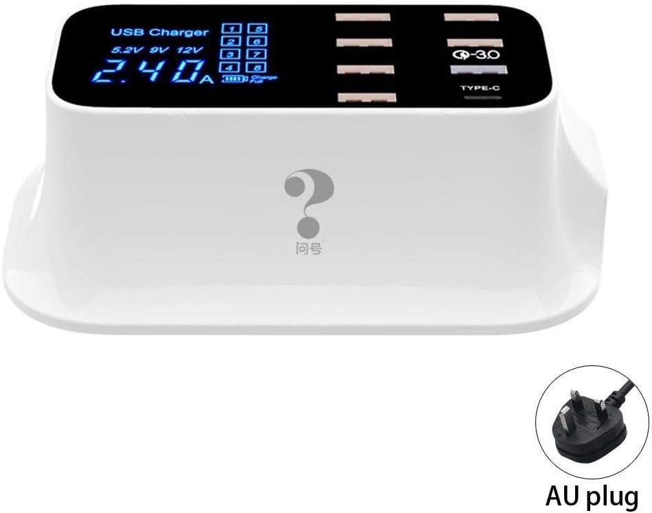 - Plug Type: us Max Pukido Smart USB Type C LED Display Mobile Desktop Phone USB 150cm//59.1inch 8 Charger 100-240V 50-60Hz 5V 2.4A
