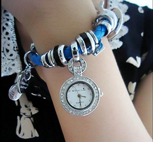 Soulvin Women Retro Love Heart Pendant Charm Rhinestones Weave Belt Bracelet Watch Blue by Soulvin (Image #1)