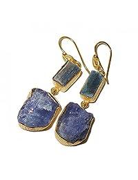 Rough Tanzanite And Kyanite Gemstone Dual Stone Dangle Earrings For Women