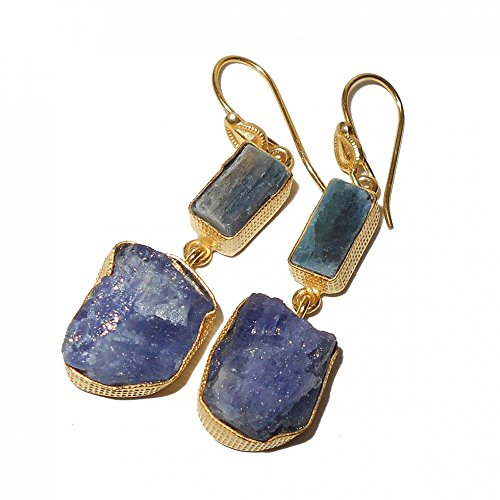 Tanzanite Rough (Rough Tanzanite And Kyanite Gemstone Dual Stone Dangle Earrings For Women)