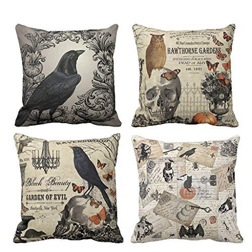 David Harrison Pillow Case, Pack of 4 Halloween Cotton Linen Throw Pillows Cover Decorative,18x18 -