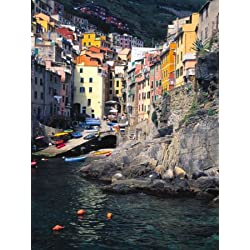 Harbor View of Hillside Town of Riomaggiore, Cinque Terre, Italy Photographic Poster Print by Julie Eggers, 18x24