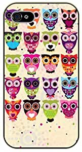 iPhone 4 / 4s Cute colorful owls - black plastic case / Animals and Nature, owl, owls