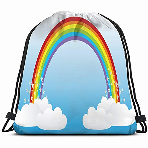 (Rainbow Abstract Objects Drawstring Backpack Bag For Kids Boys Girls Teens Birthday, Gift String Bag Gym Cinch Sack For School And Party)