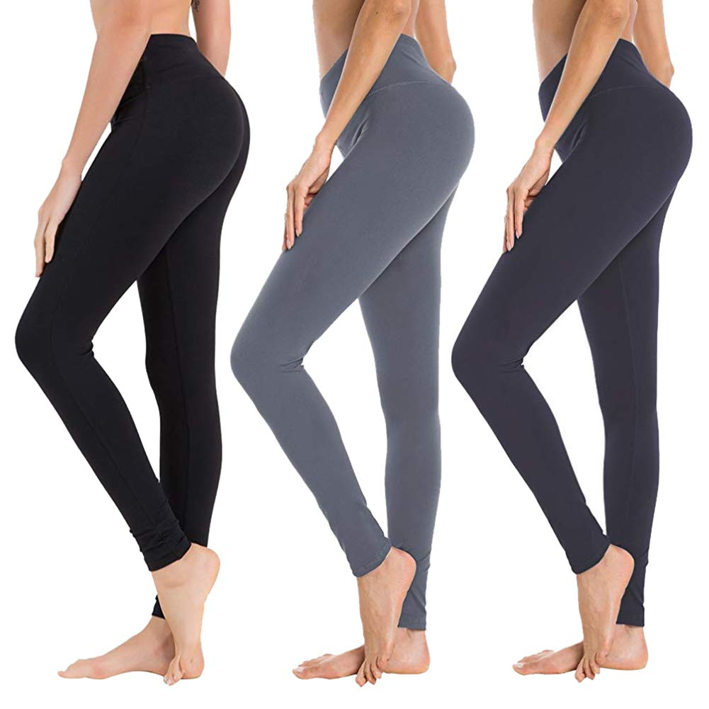 High Waisted Leggings for Women - Soft Athletic Yoga Pants - Reg & Plus Size (3 Pack Black, Dark Grey, Navy Blue, One Size (US 2-12))