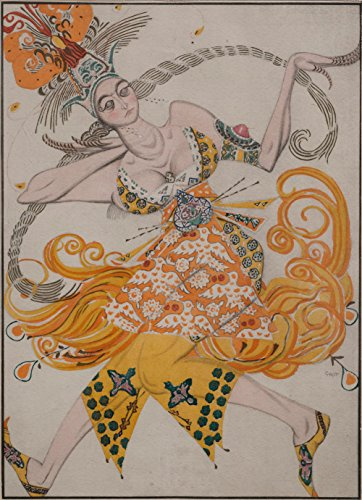 Léon Bakst - Costume design for the ballet The Firebird, Size 12x16 inch, Gallery wrapped canvas art print wall décor