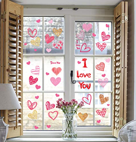 (jollylife 125PCS Valentine's Day Window Clings Decorations - Heart Decal Party Ornaments)