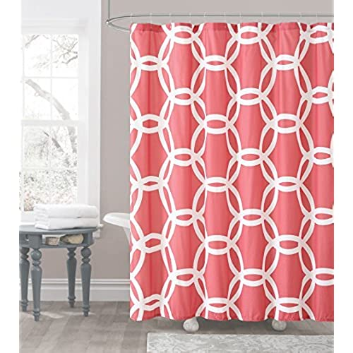 Coral And White Embossed Fabric Shower Curtain Chain Lattice Design