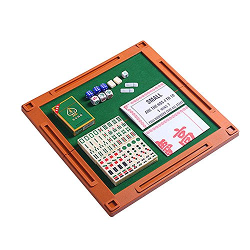 AOLVO Chinese Mahjong Set, Travel Game Set Accessories with Mini Mah Jong Tiles, Portable Mah-Jongg Table, Poker Playing Cards, Mahjongg Ivory Dices by AOLVO