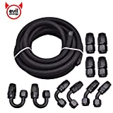 "EVIL ENERGY 16FT 6AN 5/16"" ID Nylon Stainless Steel Braided CPE 8.71mm Fuel Line and Swivel Hose End Fittings 10pcs Kit Universal"