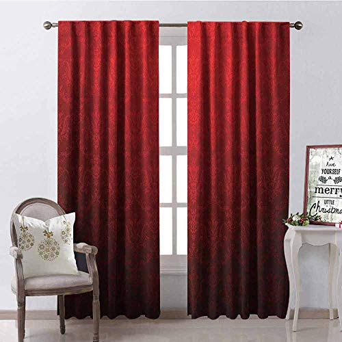 (GloriaJohnson Dark Red 99% Blackout Curtains Antique Floral Pattern with Baroque Royal Renaissance Influences and Ombre Effect for Bedroom- Kindergarten- Living Room W52 x L54 Inch Red Black)