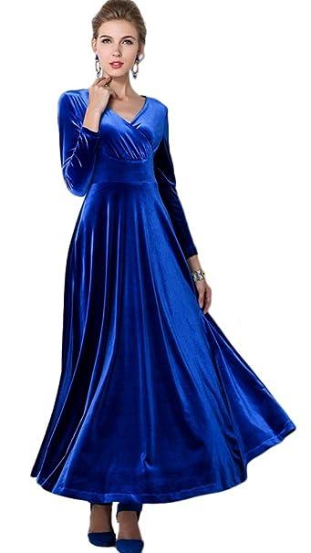 big sale 3ab47 faf18 Vestito Velluto Donna Lungo Stile Impero Taglie Forti Tunica Scollo a V  Abiti Maniche Lunghe Ragazza Abito Autunno Inverno Vintage Swing Vestiti ...
