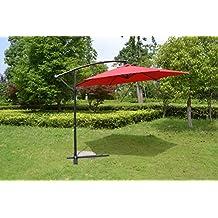 MCombo 0010 Steel Umbrella Patio Sun Shade Market Yard Beach Crank Tilt Parasol, 10', Red
