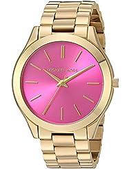 Michael Kors MK3264 Womens Slim Runway Gold-Tone Stainless Steel Bracelet Watch