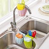 Organization Kitchen Grocery House Sponge Sink Holder, Hanging Silicone Kitchen Gadget Storage Organizer, BasketsDrain Bag (Gray)