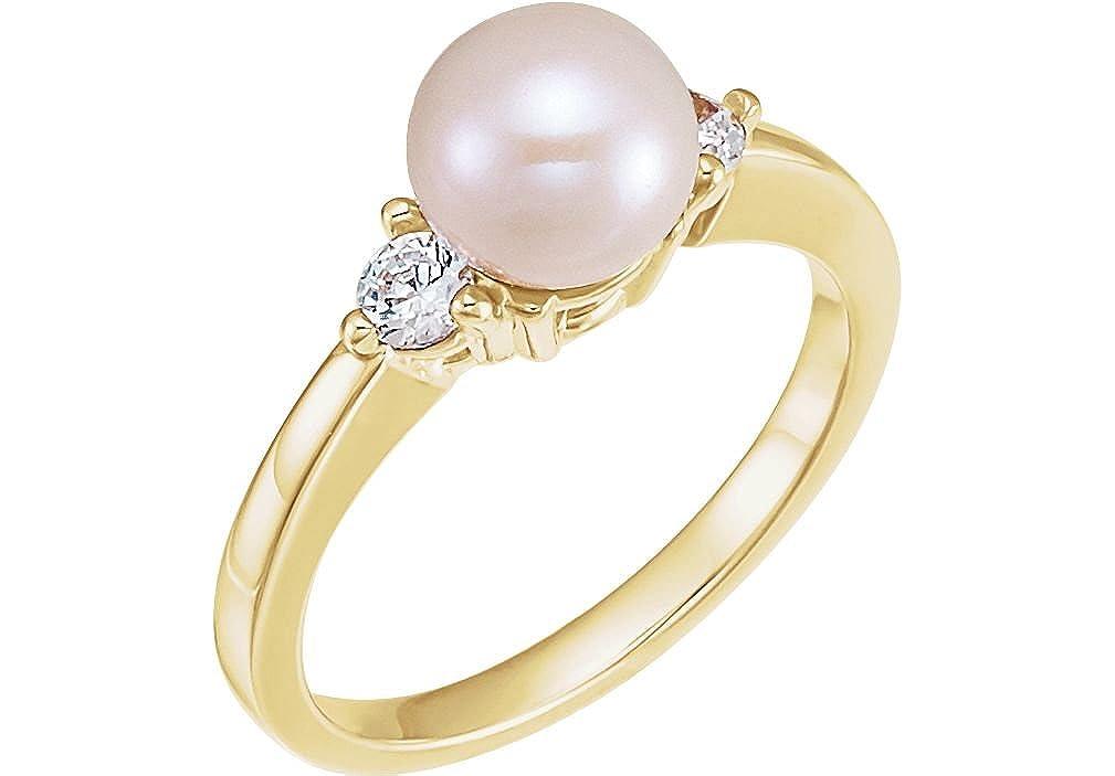 Amazon com: White Akoya Cultured Pearl and Diamond Ring, 14k