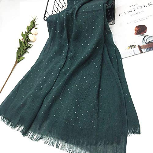 Batoolz Women Girls Soft Summer All Season Solid Color Shimmer Long Wide Viscose Cotton Hijab Scarf Stole Wrap Cover up 200X100 cm (Forest Green)