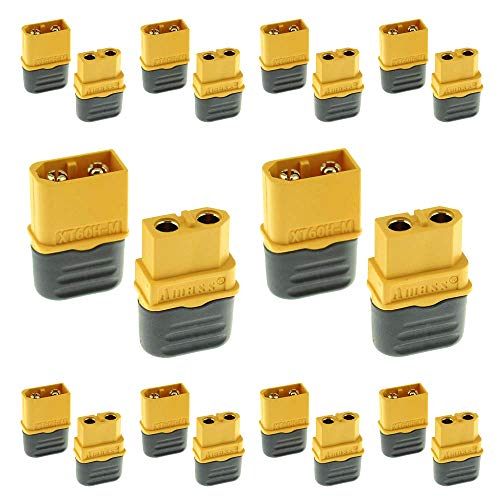 Amass 10 Pair XT60H Bullet Connector Plug Upgrated of XT60 Sheath Female & Male Gold Plated for RC Parts ...