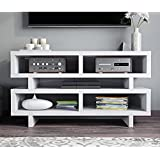 White Modern Geometric Multi Storage Media Compartment Shelf TV Stand Console Table