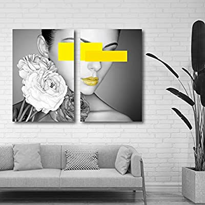 Beauty With Yellow Touches - 2 Panel Canvas Art