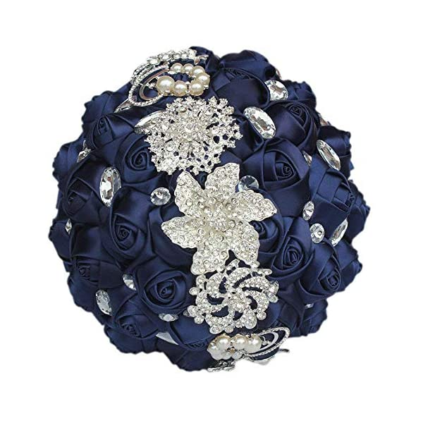 S_SSOY Customization Brooch Wedding Bouqeuet Bridal Bride Bridesmaid Holding Ribbon Rose Flowers Bouquets with Rhinestone Pearl for Valentine's Day Church Confession (Navy, Dia:24cm)