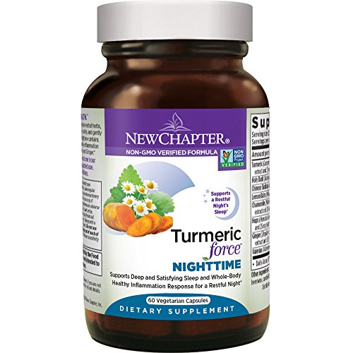 - New Chapter Turmeric Supplement + Sleep Aid - Turmeric Force Nighttime for Sleep Support with Valerian Root + Ginger + NO Black Pepper Needed + Non-GMO Ingredients - 60 Vegetarian Capsule