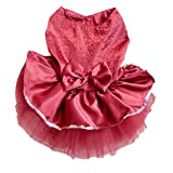 EOZY Pets Dog Bowknot Mesh Party Dress Teddy Poodle Apparel Coat Jacket Red XS