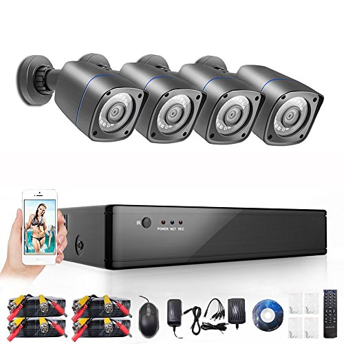 Rraycom 4CH Security Camera System 1080H DVR with 4x 2000TVL Superior Night Vision IR Cut SMD Leds indoor/outdoor CCTV Camera (P2P Technology/E-Cloud Service,Without Hard Drive)