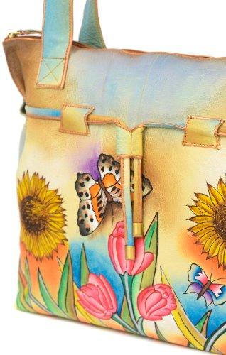 Zimbelmann Damen Schultertasche aus echtem Leder - Nappaleder - handbemalt - Tina