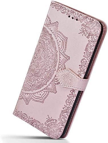 Herbests Kompatibel mit Huawei Mate 20 Lite Handy Hülle Handytasche Leder Hülle Retro 3D Mandala Blumen Muster Leder Schutzhülle Flip Case Klapphülle Brieftasche Wallet Tasche,Rose Gold