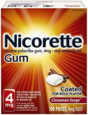 Nicorette Nicotine Gum Cinnamon Surge 4 milligram Stop Smoking Aid 100 count